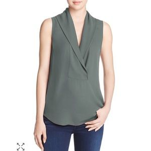 Theory Shawl Collar Silk Top